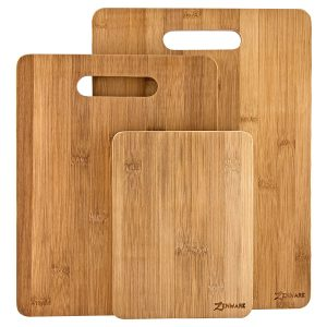 Zenware 3 Piece Triple-Ply Warp Resistant All Natural Bamboo Cutting Board Set
