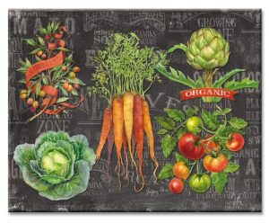 CounterArt Chalkboard Veggies Glass Cutting Board,