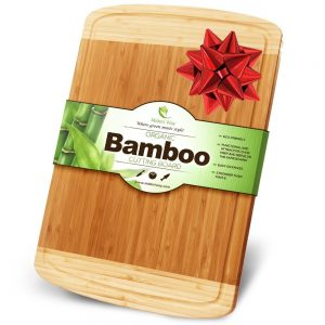 Midori Way Thick Bamboo Wood Cutting Board with Juice Grooves