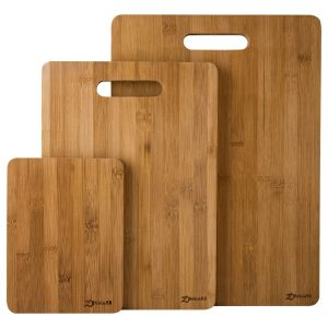 ZenWare 3 Piece Triple-Ply Warp Resistant All Natural Bamboo Cutting Board Set – Large