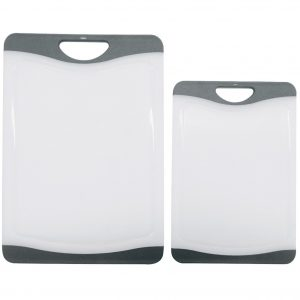 Cutting Board Set - 2 Dishwasher Safe Poly Plastic Kitchen Boards
