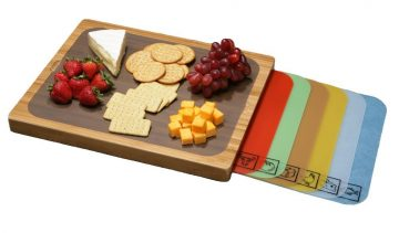 Seville Classics Bamboo Cutting Board with 7 Removable Cutting Mats