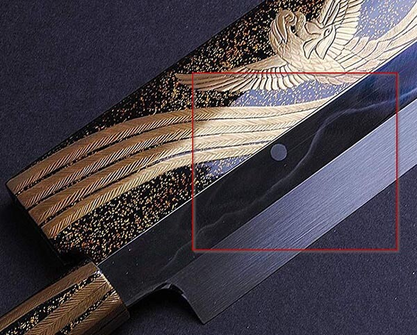 Mount Fuji under a full moon hanon japanese blade pattern