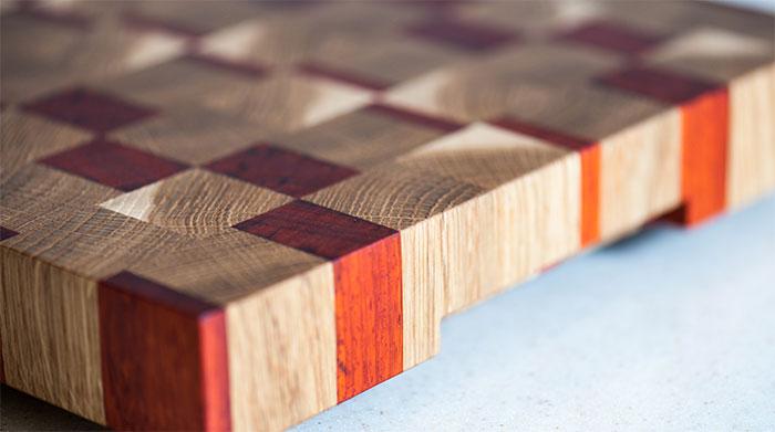 Closeup of end grain cutting board