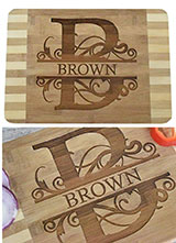 "Personalized Custom Engraved Bamboo Wood Cutting Board - 13.5""x9.6""x0.68"""