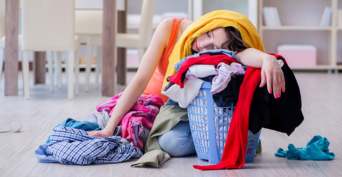 Static cling on laundry stresses out a woman