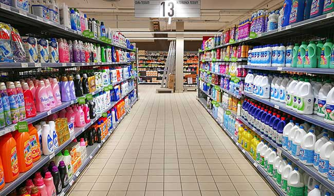 Laundry detergents in supermarket aisle