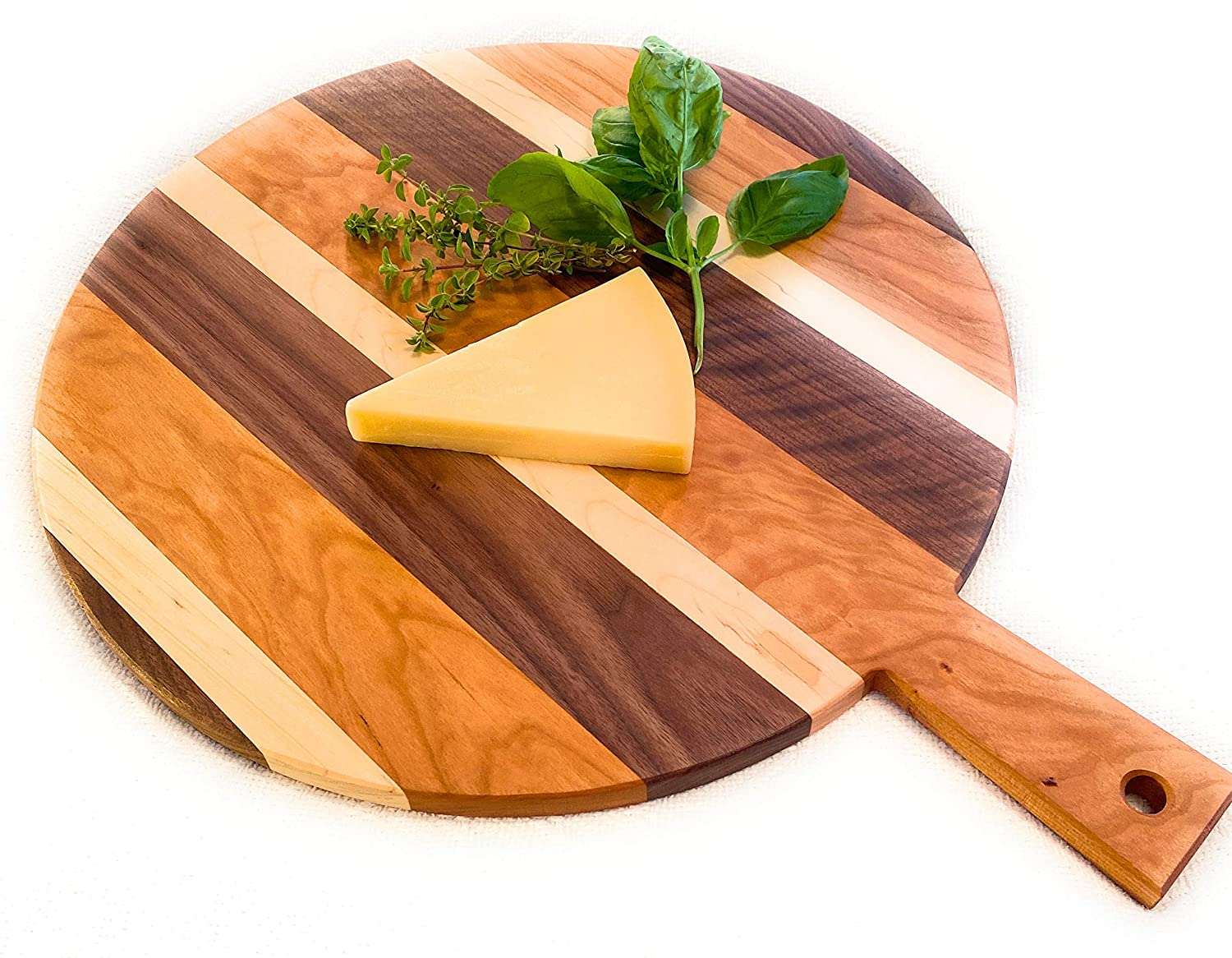 Generic Large Round Charcuterie Cheese Cutting Board with Handle