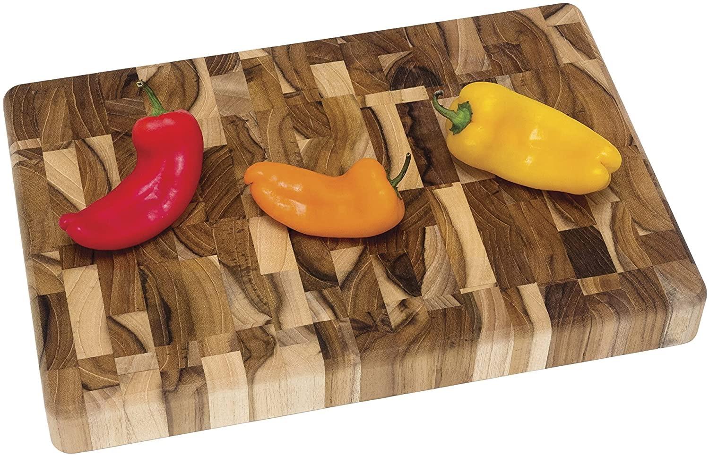 Lipper International Teak Wood End Grain Kitchen Chopping Block and Cutting Board