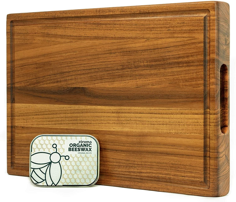 Reversible Premium Teak Wood Cutting Board Cured with Organic Beeswax by Ziruma
