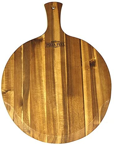 Mountain Woods Brown Large Acacia Wood Pizza Peel/Cutting Board/Serving Tray