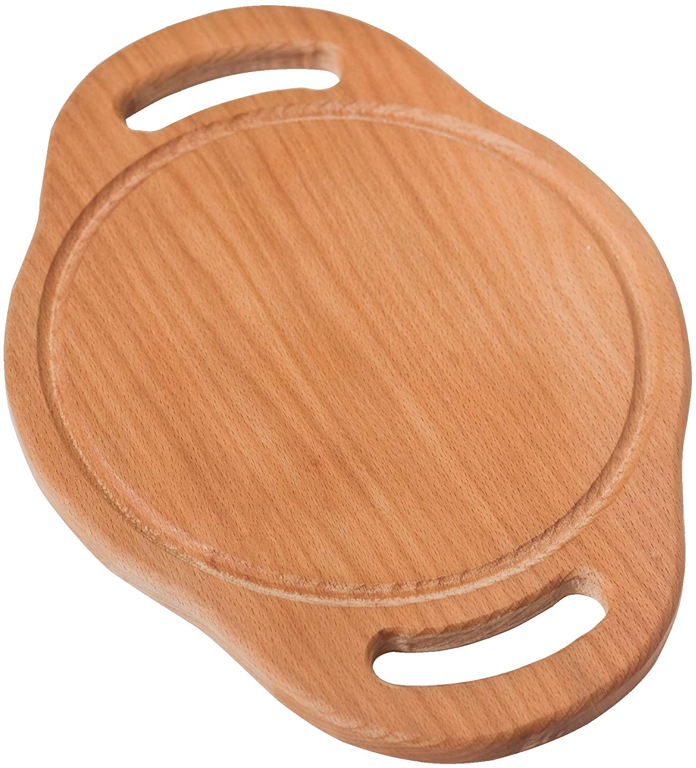 ECOSALL Round Wooden Cutting Board With Handles & Juice Groove